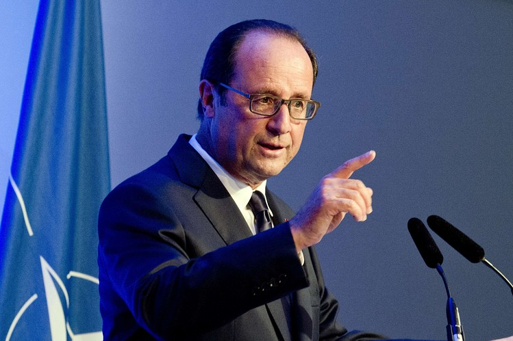 French President Francois Hollande delivers a speech at the opening of a one-day UN conference to find ways to help minorities in the Middle East persecuted by Islamic State militants