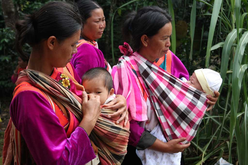 Mothers and babies from the Lisu tribe in the Doi Lan mountains of Chiang Rai