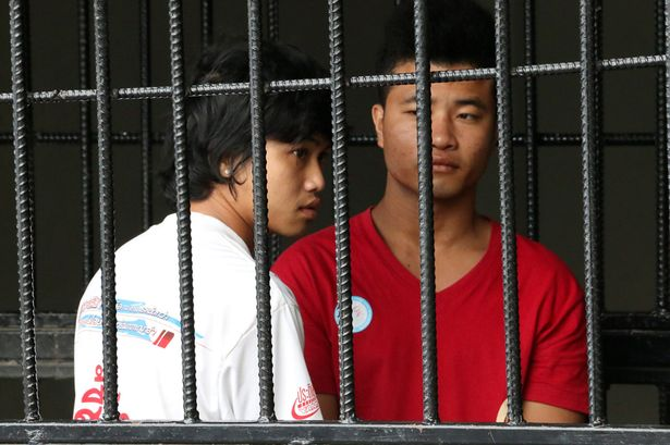 Win Zaw Htun and Zaw Lin, workers from Myanmar accused of killing two British tourists