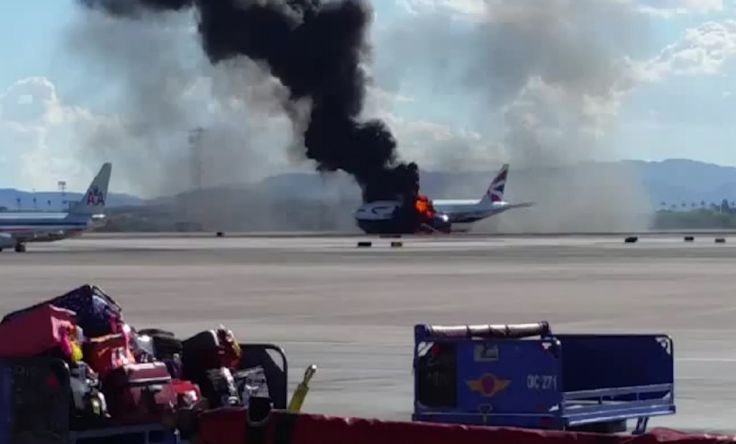 A British Airways plane can be seen in flame at LAS airport Las Vegas