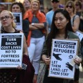 Protesters at a rally supporting refugees in Sydney, Australia, last month. Photo Peter Parks