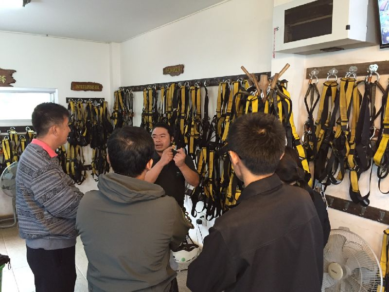 Police inspect equipment at Flying Squirrels zipline adventure in Chiang Mai province