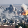 Smoke rises over Syrian town of Kobani after an airstrike, read more: http://www.haaretz.com/news/middle-east/1.678484