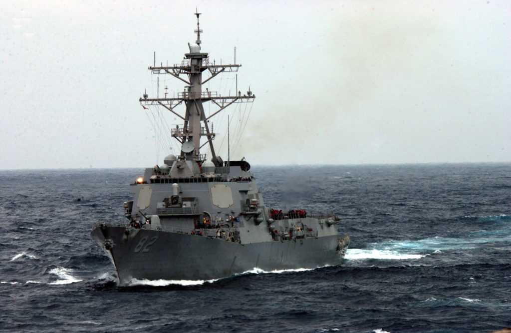 The guided missile destroyer USS Lassen (DDG 82) underway in the rough seas of the East China Sea.