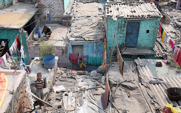 A general view of a slum area where a four-year-old girl was allegedly raped, New Delhi.