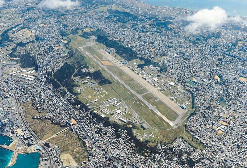Kadena US Air Force Base current location in the middle of a crowded Okinawan city