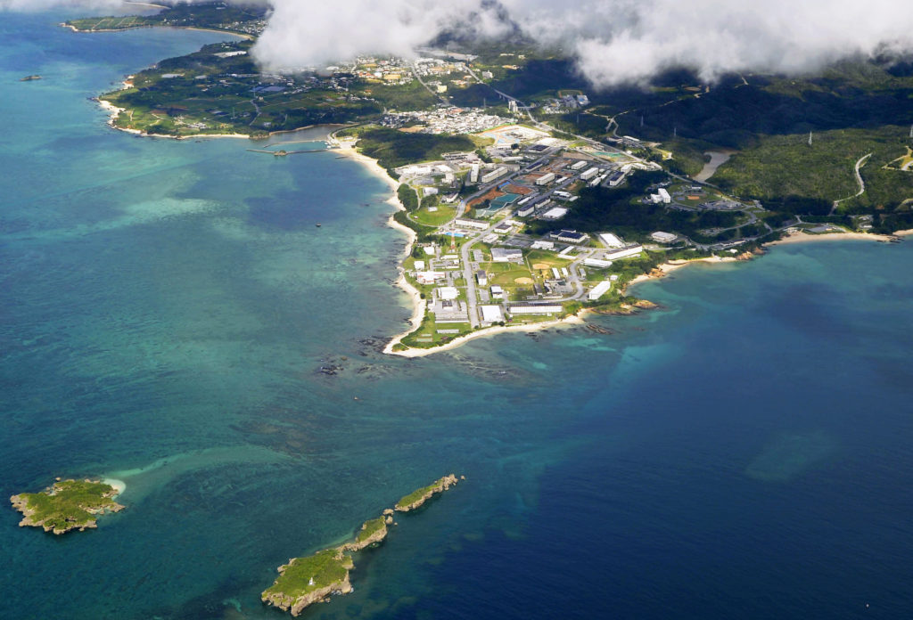 A replacement facility for U.S. Marine Corps Air Station Futenma is planned in this stretch of sea off Henoko, Okinawa Prefecture