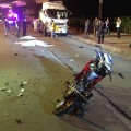 A motorcycle seriously damaged after illegal fireworks exploded, killing one rider and injuring the other - Photo Chayanit Itthipongmaetee