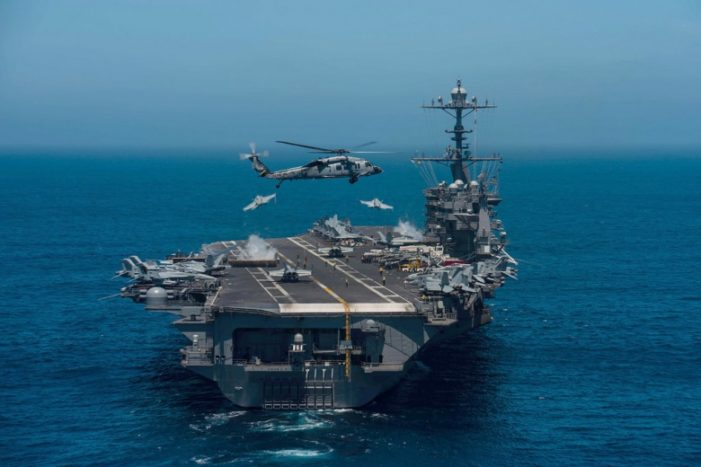 U.S. Defense Secretary Boards USS Theodore Roosevelt in South China Sea