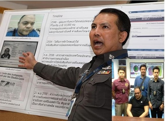 Deputy national police chief Wut Liptapanlop describes the police case against Cabau. (Photo by Panupong Changchai)