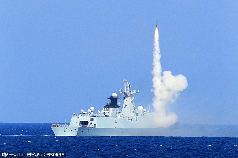 A missile is fired during a Chinese navy drill in South China Sea, July 28, 2015.