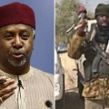 Left: Nigeria's National Security Adviser Sambo Dasuki. Right: the Boko Haram leader Abubakar
