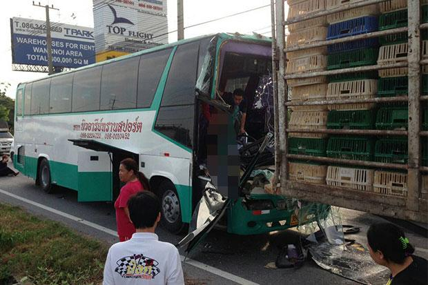Bus Driver Killed in Ayutthaya after Collision with Chicken Truck