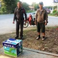 An abandoned baby was found inside this Double A box in the northern province of Chiang Rai on Monday morning. (Sanook.com photo)