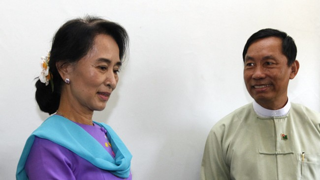 Myanmar's parliamentary speaker Shwe Mann and National League for Democracy chairperson Aung San Suu Kyi