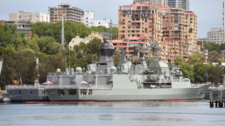 Royal Australian Navy warships are seen moored at Sydney's Garden Island naval base