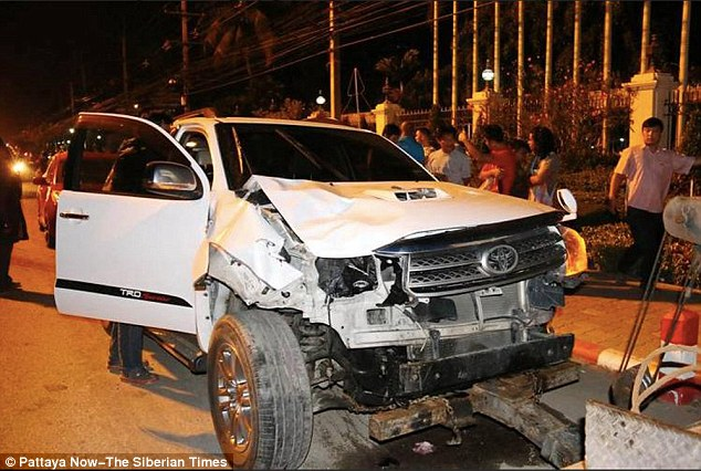 They were hit by a speeding Toyota Fortuner while they were crossing the road back to their hotel