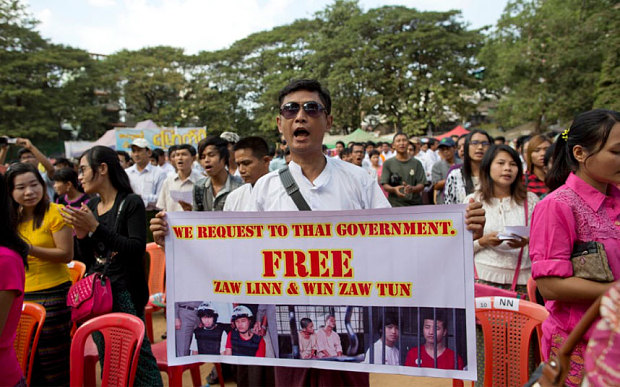 Protests Over Death Sentence of Migrant Workers  Strengthen at Thai Embassy in Myanmar