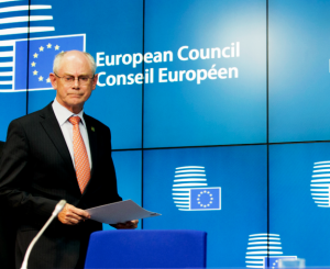 Herman Van Rompuy, President of the European Council, arrives at the press conference