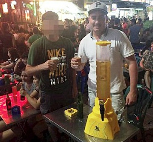 A post mortem-examination revealed Mr Nicholson, pictured above on one of his many trips to Thailand, had 341 microgrammes of alcohol per 100 mililitres of blood in his system Read more: http://www.dailymail.co.uk/news/article-3417041/British-tourist-died-alcohol-poisoning-36-hour-Thailand-binge-culminating-four-BUCKETS-vodka-red-bull.html#ixzz3yLxe60ES Follow us: @MailOnline on Twitter | DailyMail on Facebook