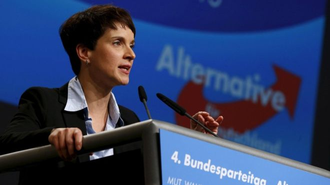 Frauke Petry, leader of the AfD party, speaking in Hannover