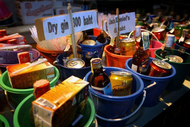 Buckets: a popular alcoholic drink in Thailand especially at Full Moon parties
