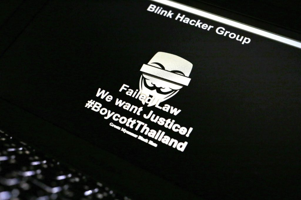 A message is displayed on a computer screen in Bangkok, Thailand