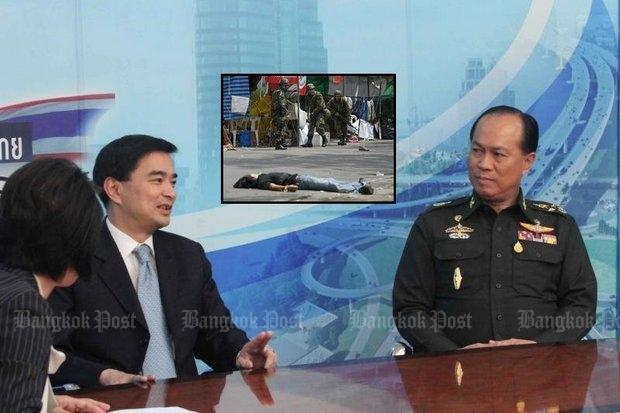 "Then-Prime Minister Abhisit Vejjajiva (left) and army chief Gen Anupong Paojinda appeared together on April 25, 2010, in a ""United We Stand"" TV broadcast - photo by Surapol Promsaka na Sakolnakorn Please credit and share this article with others using this link:http://www.bangkokpost.com/news/politics/810552/crackdown-trio-cleared-by-graft-body. View our policies at http://goo.gl/9HgTd and http://goo.gl/ou6Ip. © Post Publishing PCL."