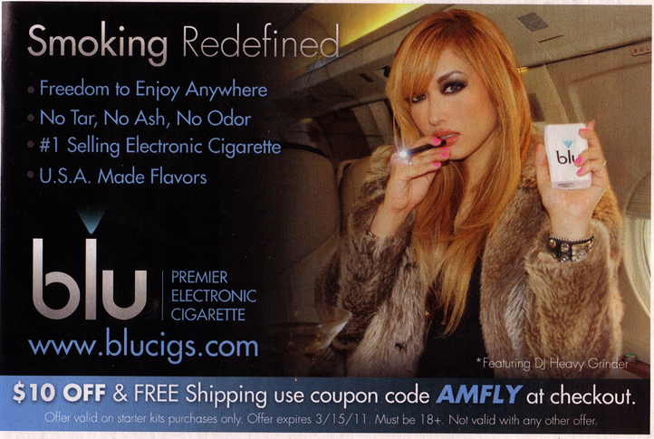 This advertisement on the right from America shows e-cigarettes aren't being positioned as a way to stop smoking.
