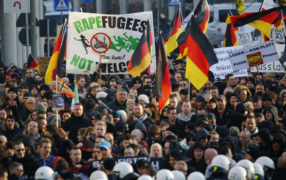 Anti-immigration groups are staging a massive protest in Cologne