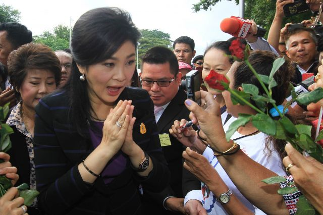 Yingluck Arrives at Supreme Court to Fight Charge of Dereliction of Duty
