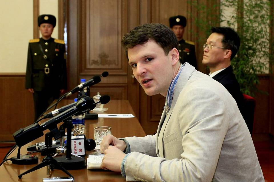 American student Otto Warmbier speaks during a press conference on Monday, Feb. 29, 2016, in Pyongyang, North Korea Read more here: http://www.charlotteobserver.com/news/nation-world/world/article63106107.html#storylink=cpy