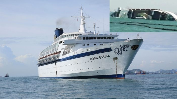 "Abandoned Cruise Ship ""Ocean Dream"" Sinks in Laem Chabang, Thailand"