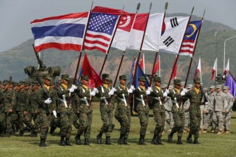 Thai soldiers participating in the opening ceremony for the Cobra Gold military exercise in Chonburi, east of Bangkok, yesterday. Twenty-seven countries are taking part, either directly or as observers