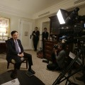 Thailand's former Prime Minister Thaksin Shinawatra responds to questions during a news interview Wednesday, March 9, 2016, in New York