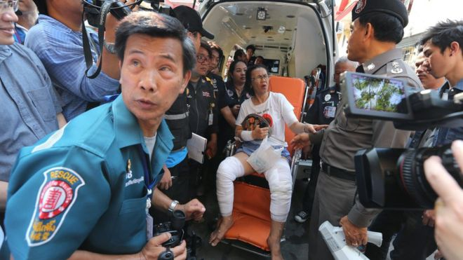 Most of the injured suffered from minor burns, police said, though two passengers were said to have been seriously hurt by flying debris.