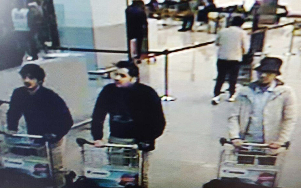 CCTV footage released by Belgian police of the suspects from today's bomb attacks in the Belgium