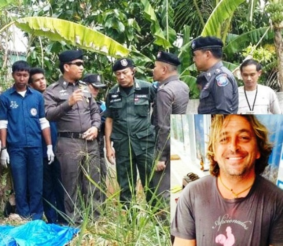 Police examine the plantation where the body of the French diving instructor was found in Muang Surat Thani district, Surat Thani, on Tuesday