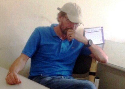 Pedophile Pieter Ceulen on Friday after his arrest in Phnom Penh. (Child Protection Unit)