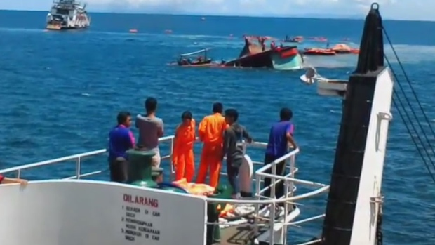 The ferry, Tafelia 2, sank in the narrow Bali Strait. It languished on its side before capsizing.