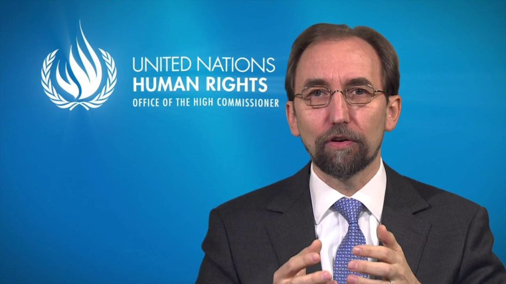 UN High Commissioner for Human Rights Zeid Ra'ad Al Hussein speaks during a press conference