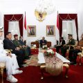 Joko Widodo, center, the president of Indonesia, with officials from Indonesia, Malaysia and the Philippines at a meeting in the Indonesian city of Yogyakarta on Thursday focused on maritime security. Credit Rana Dyandra/Associated Press