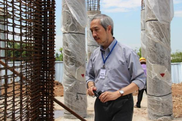 Prof Pennung Warnitchai inspects a construction site in Chiang Rai to ensure its structural strength and whether it can withstand a further earthquake.