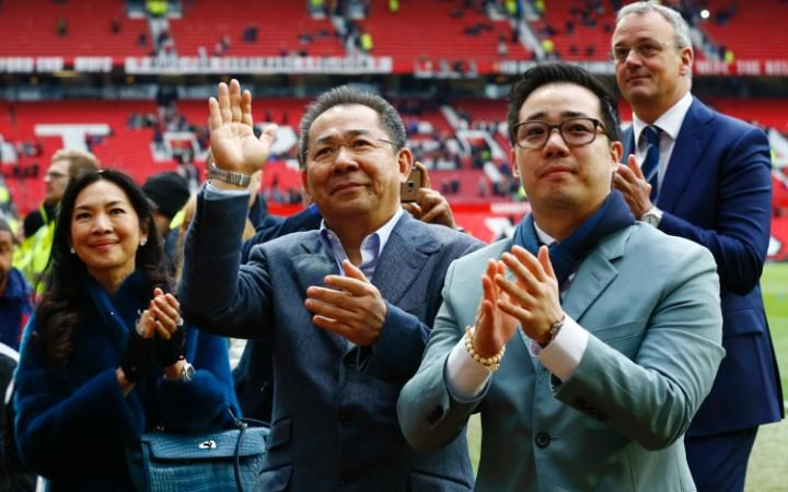 Leicester City chairman Vichai Srivaddhanaprabha at the end of the game