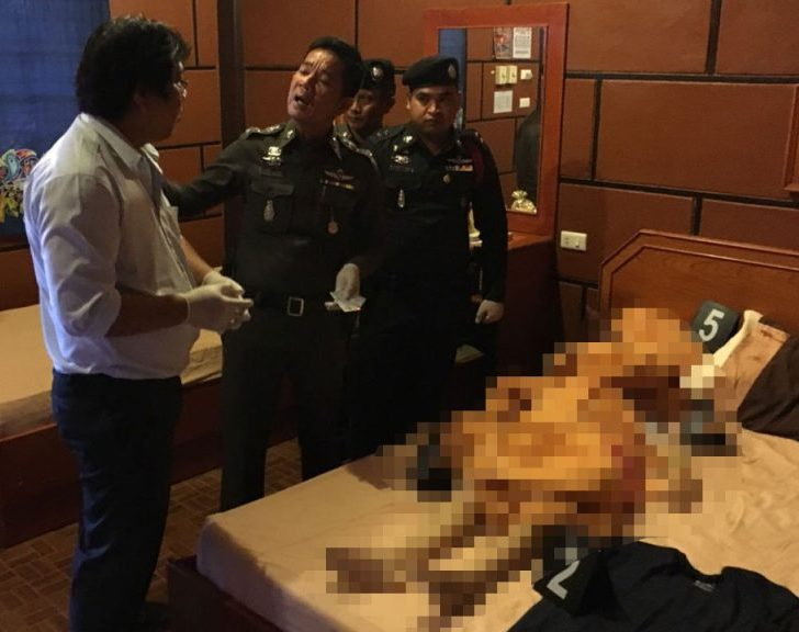 Kunthika Churuek, 24, who was the man's girlfriend, had fatal knife wounds to her throat and chest. A blood-stained knife was found in the room.