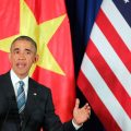 US President Barack Obama delivers a speech during a press conference in Hanoi, Vietnam.