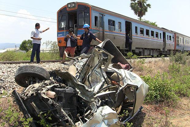 The truck was destroyed after it was hit by a tourist train (Photo by Chaiwat Satyaeam)