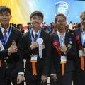 The four Thai science students Puvanat Charuntorn Doungnga, Runglawan Charpugdee,Triamchanchai and Touchakorn Chintavalakorn celebrate their achievement at the Intel ISEF 2016 in Phoenix, Arizona