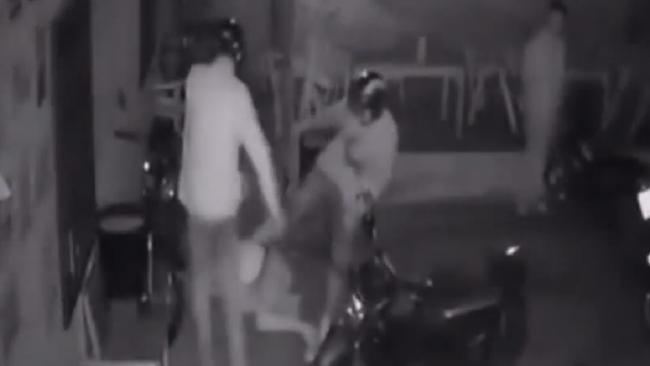 Chilling footage shows a group of men attacking a woman in Thailand. Picture: YouTube