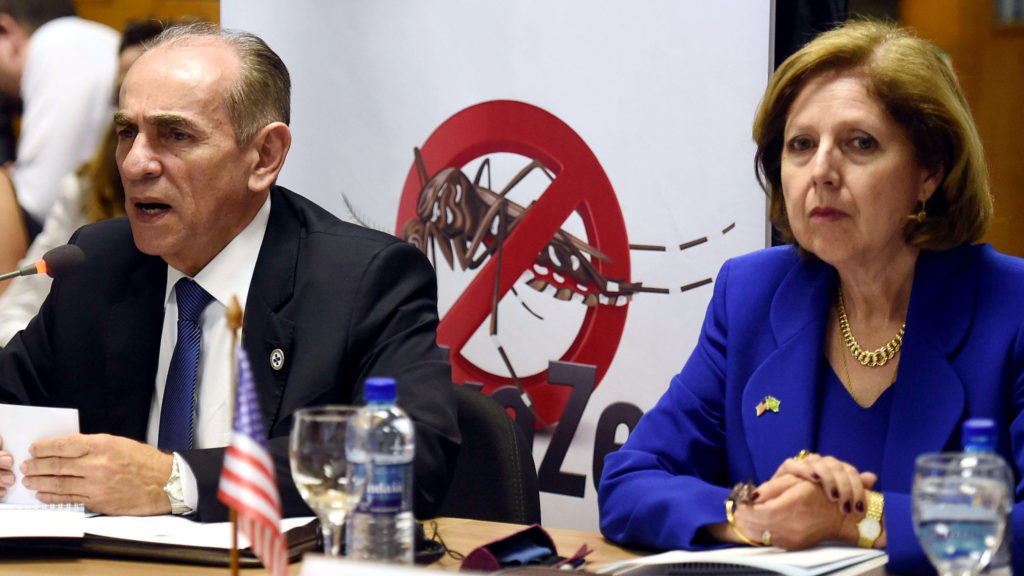 Marcelo Casto, Brazil's minister of health, and Liliana Ayalde, the U.S. ambassador to Brazil, take part in a conference discussing the Zika virus and the upcoming Olympics on Thursday in Brasi.L